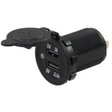 IC-266D 12V Giriş 5V 1A ve 5V 2,1A Çıkış Kulaksız Ø 30 mm Pano Tipi USB