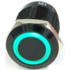 GQ16F-10E-A 16mm LED li Metal Yaylı Siyah Buton